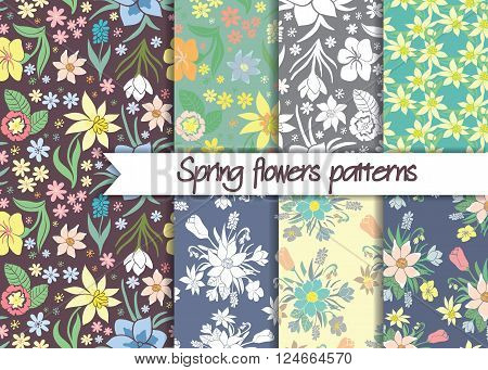 Spring flowers patterns. Set of seamless colorful vector patterns.Floral patterns. Floral seamless vector patterns. Vector floral backgrounds. Set of floral vector seamless textile ornaments.