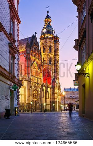 KOSICE, SLOVAKIA - MARCH 20, 2016: St. Elisabeth cathedral and a statue in the centre of Kosice city in eastern Slovakia on March 20, 2016.