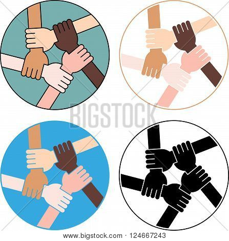 Five Hands Holding Each Other as an Interracial Solidarity. Variations