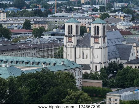 SALZBURG AUSTRIA JUNE 27: The city of Salzburg and the outside of the Paris church St. Andra Salzburg 2015