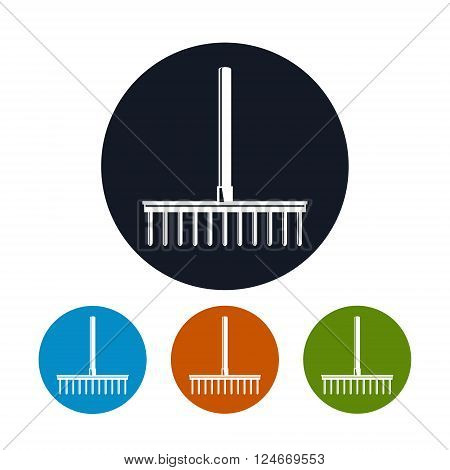 Rake Icon, a Bow Rake for Soil and Rocks , Four Types of Colorful Round Icons Garden Rake , Agricultural Tool ,  Vector Illustration