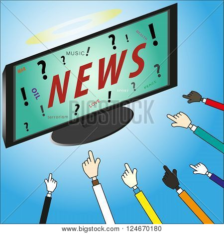 Concept News our god on lcd tv with pointing hands