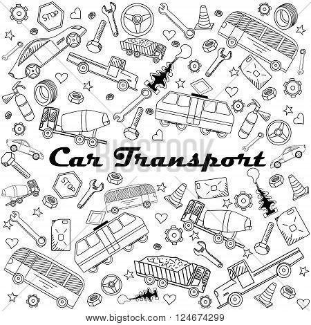 Car transport coloring book line art design vector illustration. Separate objects. Hand drawn doodle design elements.