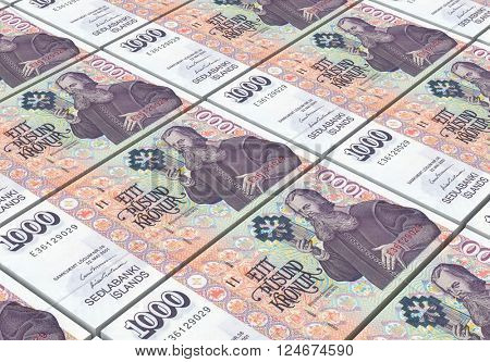 Icelandic kronas bills stacks background. 3D illustration