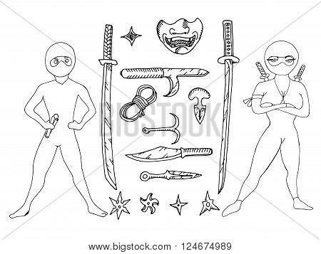 Black and white hand drawn vector stock illustration