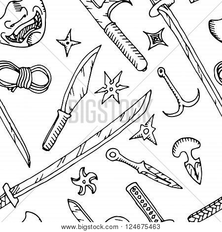 Black and white background. Hand drawn vector stock illustration
