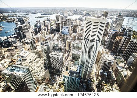 Aerial view of the skyline of Sydney Australia