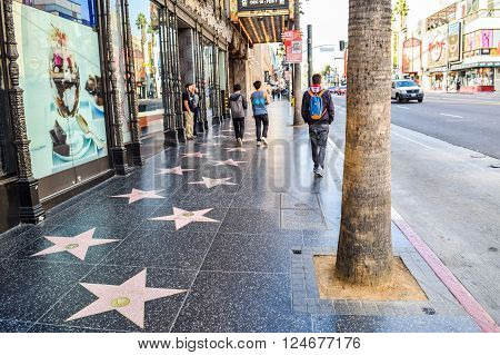 Hollywood Blvd,Los Angeles, California 01.16.2016: View of Hollywood Boulevard at sunset