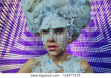 Hollywood Blvd,Los Angeles, California 01.16.2016:Wax figure Stefani Joanne Angelina Germanotta, Lady Gaga in Madame Tussauds Hollywood wax museum. Marie Tussaud was born as Marie Grosholtz in 1761