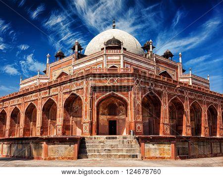 Delhi famous tourist attraction landmark - Humayun's Tomb. Delhi, India. UNESCO World Heritage Site