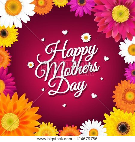 Happy Mothers Day Card With Gerbers With Gradient Mesh, Vector Illustration