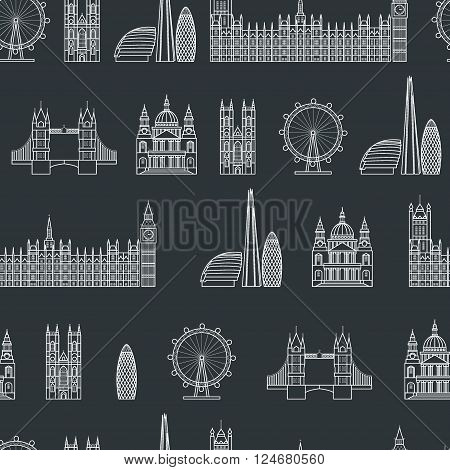 Vector Illustration of London Icon Seamless PAttern Outline for Design, Website, Background, Banner. Travel Britain Logo Landmark Silhouette  Element Template for Tourism Flyer. Big Ben, Eye,  church, St Pauls Cathedra,  parliament. Wallpaper textile