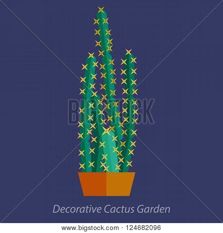 Cactus in Flat style.Cactus in pot Vector illustration.Modern Green plant icons, desert nature, floral exotic, tropical flower, Home cactus garden, wild botany illustration.Vector simple cactus