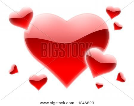 a lot of red hearts for valentines day poster