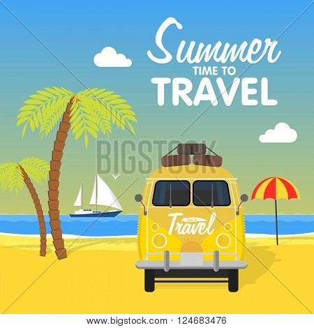 Summer beach camping island landscape with surfing bus, seaview, sand and sun. Travel omnibus family summertime holidays. Vacation poster concept. Surf camp, rv travel coach in flat design