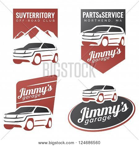 Set of suv car labels emblems badges or logo isolated on white background. Off-road suv adventure emblems car club design elements. Isolated modern suv front and side view.