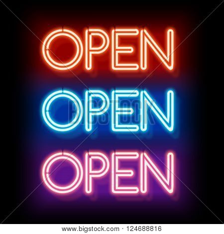 Neon sign Open. Inscription to login. Electric lamp in the form of words. Retro sign for the club on black background. Red, blue, violet light in the form of text. illustration