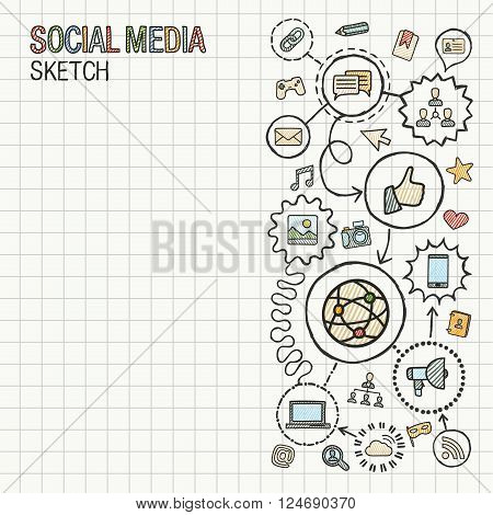 Social media hand draw integrate icons set on paper. Colorful vector sketch infographic illustration. Connected doodle pictogram. internet, digital, marketing, network, global interactive concept