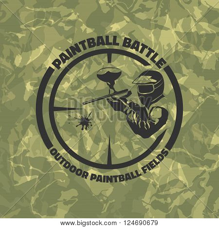 Paintball logo on green camouflage background. Indoor and outdoor paintball club icon. Man with gun and musk. Paintball rental equipment.