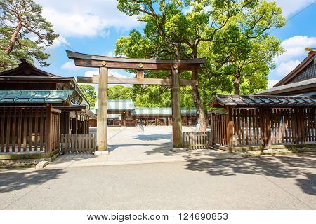 Entrance to Imperial Meiji Shrine located in Shibuya, Tokyo shrine that is dedicated to the deified spirits of Emperor Meiji and his wife, Empress Shoken