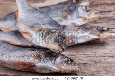 dried fish close up on the table