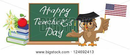 Happy Teachers Day. Owl teacher stands at blackboard. Cartoon illustration in vector format