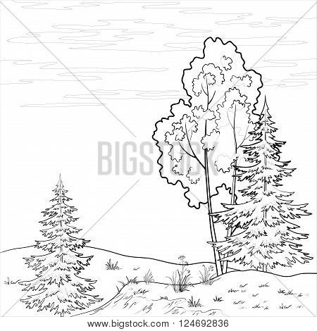 Summer Landscape, Trees, Flowers and Sky with Clouds, Black Contours on White Background. Vector