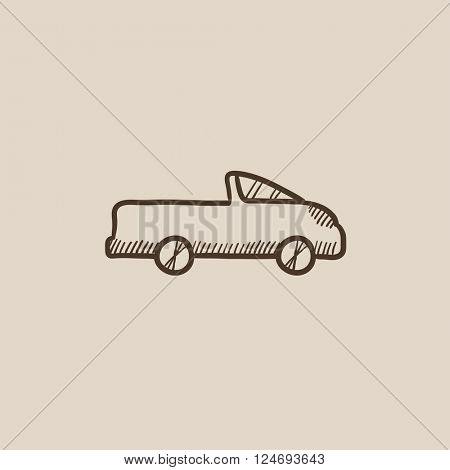 Pick up truck sketch icon.