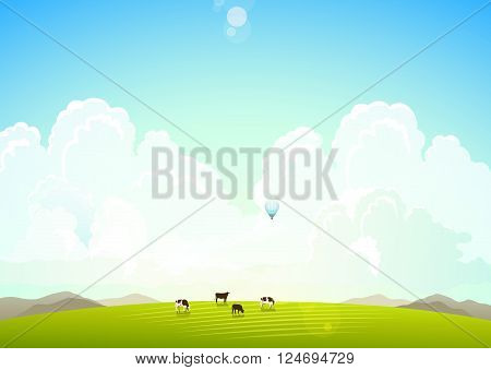 Landscape illustration with mountains hills and clouds. ?ows on a green meadow