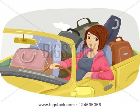 Illustration of a Teenage Girl Traveling by Car