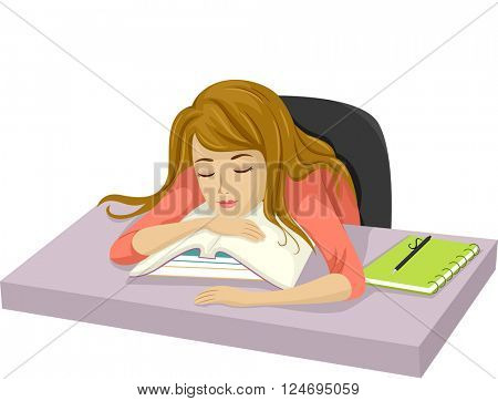 Illustration of a Teenage Girl Who Have Fallen Asleep After Studying
