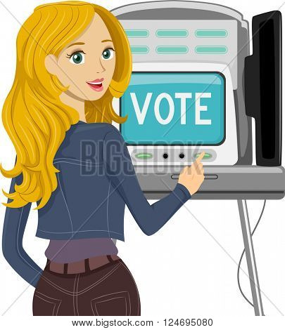 Illustration of a Teenage Voter Casting Her Vote