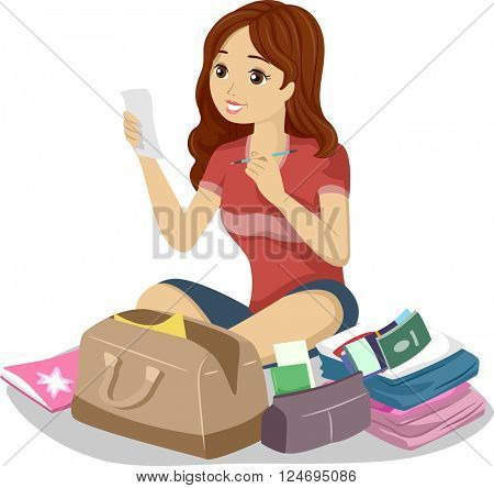 Illustration of a Teenage Girl Reading Her Travel Checklist
