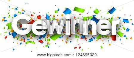 Winner paper banner with color confetti, German. Vector illustration.