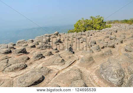 Unseen rock formations mountain Lan Hin Pum at Phu Hin Rong Kla national park in Phitsanulok Province Thailand