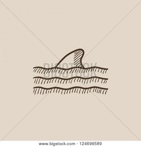 Dorsal shark fin above water sketch icon.