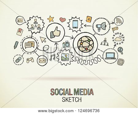 Social media hand draw integrate icons set on paper. Colorful vector sketch infographic illustration. Connected doodle pictogram, internet, digital, marketing, network, global interactive concept