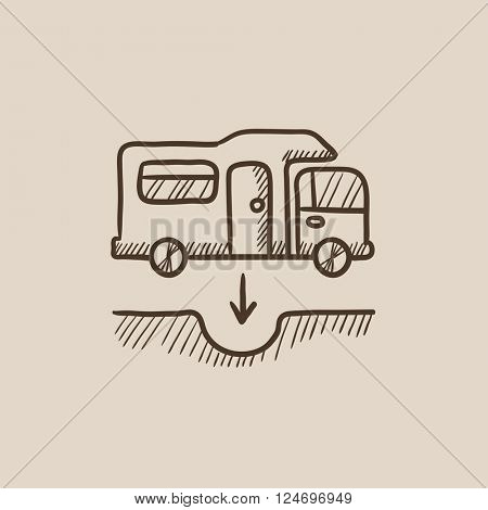 Motorhome and sump sketch icon.