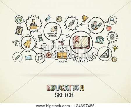 Education hand draw integrated icons set on paper. Colorful vector sketch infographic circle illustration. Connected doodle pictograms, social, elearn, learning, media, knowledge interactive concepts