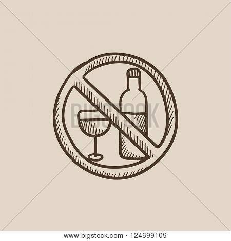No alcohol sign sketch icon.