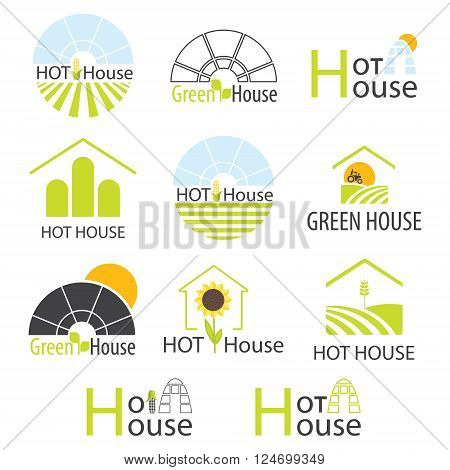 Set of vector greenhouse. Logo design for  hothouses and landscaping company, brand.