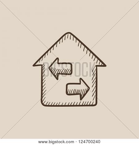 Property resale sketch icon.