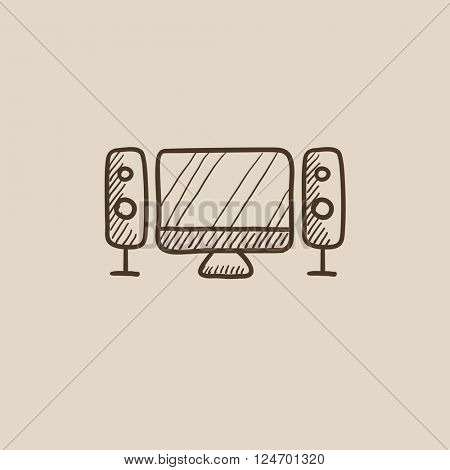 Home cinema system sketch icon.