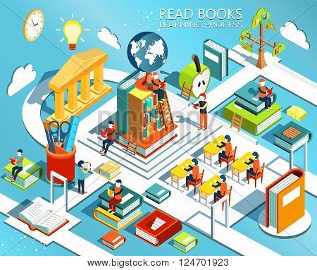 The process of education, the concept of learning and reading books in the library and in the classroom. University studies. Online education Isometric flat design. Vector illustration