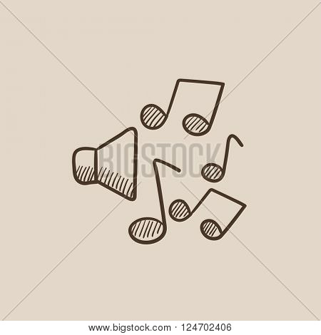 Loudspeakers with music notes sketch icon.