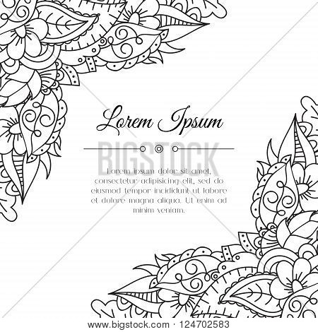 Hand drawn zentangle corner. Abstract doodle border for background decoration. Ornamental black and white design. Good for card invitation presentation template notebook cover. Vector illustration