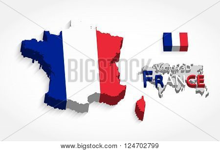 Republic of France 3D ( flag and map ) ( transportation and tourism concept )