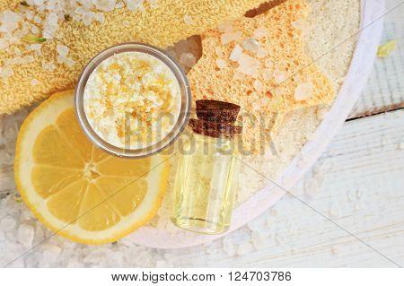 Lemon salt skincare scrub. Lemon essential oil.