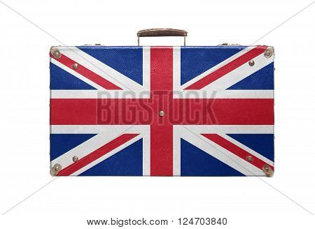 Vintage travel bag with flag of United Kingdom isolated on white background.