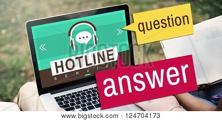 Hotline Answer Question Customer Service Concept